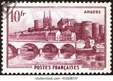 Milan, Italy - December 21, 2013: Vintage postage stamp of Angers in France