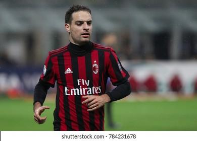 Milan, Italy,  december 27 2017: Bonaventura Giacomo moves to beat a corner kick during football match AC MILAN vs FC INTER, Quarter Final Italy Tim Cup, San Siro stadium
