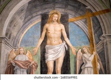 "Milan, Italy - December 27, 2019: Resurrection, ""Gesù Cristo risorto fra due angeli"", painting in the Sant Ambrogio church in Milan (Lombardy, Italy), by Bergognone (1491)"