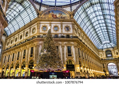 MILAN, ITALY - DECEMBER 29, 2017: Christmas and New Year decoration of Galleria Vittorio Emanuele II (1877) - one of the world's oldest shopping malls.