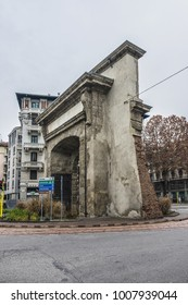 MILAN, ITALY - DECEMBER 29, 2017: Roman Gate (Porta Romana, 16th century) - former city gate of Milan. Porta Romana was the first and the main imperial entrance of the entire city of Milan.