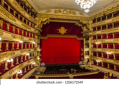 MILAN, ITALY - DECEMBER 29, 2017: Interior of Main concert hall of Teatro alla Scala, an opera house in Milan (1778). La Scala regarded as one of the leading opera and ballet theatres in the world.