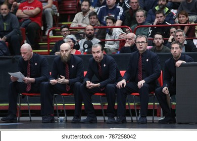 Milan, Italy december 29 2017: Pianigiani Simone Armani headcoach and technical staff during basketball match AX ARMANI EXCHANGE OLIMPIA MILAN vs RED STAR MTS BELGRADE; EuroLeague 2018.