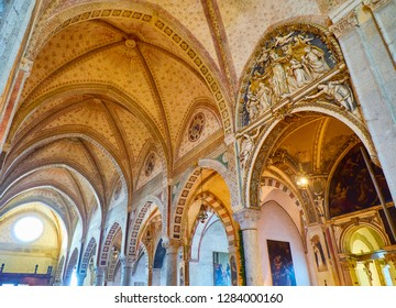 Milan, Italy - December 29, 2018. Nave of the Basilica di Santa Maria delle Grazie. Milan, Lombardy, Italy.
