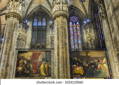 MILAN, ITALY - DECEMBER 30, 2017: Interior of Milan Cathedral (Duomo di Milano, 1386), dedicated to St Mary of the Nativity (Santa Maria Nascente), with Gothic and Lombard Romanesque style.