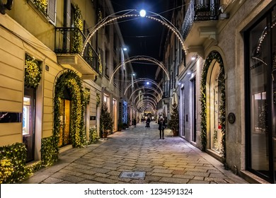 MILAN, ITALY - DECEMBER 30, 2017: Christmas and New Year decoration at Milan streets.
