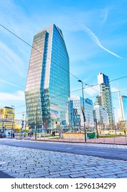 Milan, Italy - December 30, 2018. Diamond Tower in Porta Nuova Business district. View from Piazza San Gioachimo square. Milan, Lombardy, Italy.