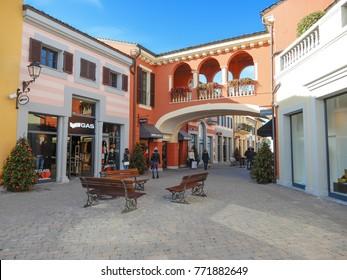 """MILAN, ITALY, DECEMBER 5, 2017 - View of outlet shopping center """" Serravalle"""" near  Milan, Italy."""