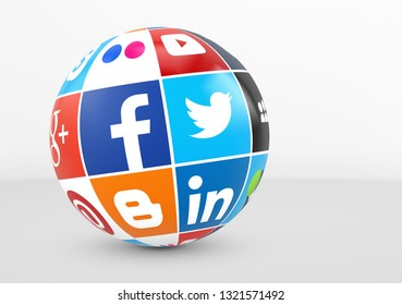 MILAN, ITALY - DECEMBER 7, 2015: Social media and network logotypes of famous Internet brand's like Facebook, Twitter, Linkedin and  YouTube printed on a globe.
