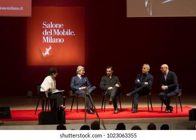 MILAN, ITALY - FEB 07, 2018: Salone del Mobile 2018 presentation press conference, Bocconi University Milan