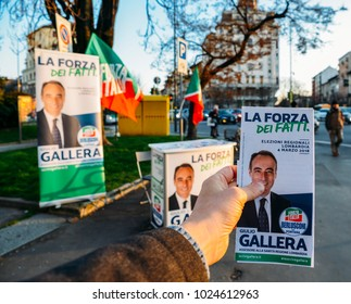 Milan, Italy - Feb 13, 2018: Campaigning on street of Milan, Italy for Giulio Gallera of Berlusconi's Forza Italia Party ahead of 2018 Italian general election is due to be held on March 4th, 2018