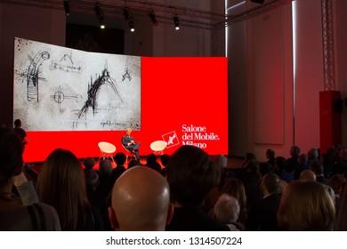 MILAN, ITALY - FEB 14, 2019: Salone del Mobile 2019 presentation press conference at Triennale Milano