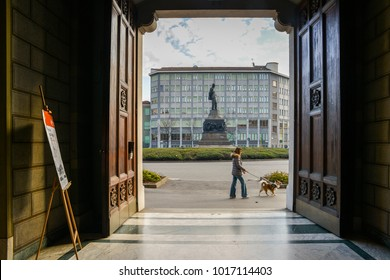 Milan, Italy - Feb 4, 2018: View from Casa di Riposo per Musicisti home of retired musicians , home for retired opera singers and musicians in Milan. Statue of Founder Italian composer Giuseppe Verdi