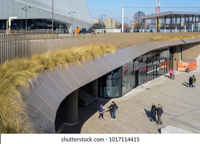 Milan, Italy - Feb 4, 2018: CityLife Shopping District, opened in Oct 2017 is a shopping centre with 100 shops in the Tre Torri district