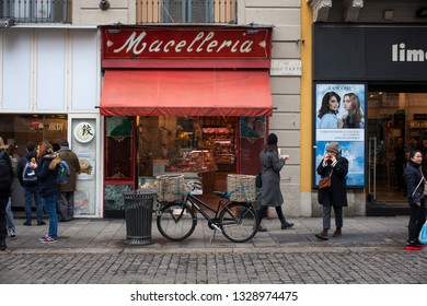 MILAN, ITALY - FEBRAURY, 02: Viev of typical italian Butcher's shop in Paolo Sarpi street on February 02, 2019 - Translation from italian: Macelleria = Butchery