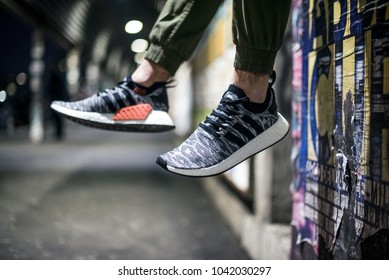 Milan, Italy - February 02, 2018: Man wearing a pair of Adidas NMD_R2 PK in the street