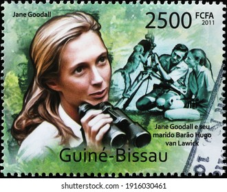 Milan, Italy  - February 04, 2021: Young Jane Goodall portrait on african postage stamp
