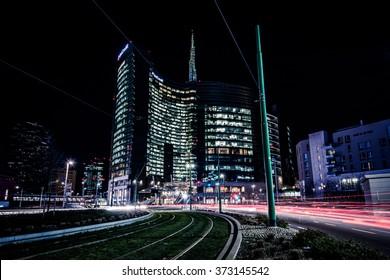 MILAN, ITALY - FEBRUARY 04,2016: Milan Porta Garibaldi district. The Unicredit Bank skyscraper and Piazza Gae Aulenti. Night scene.