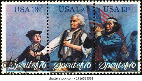 Milan, Italy  - February 05, 2021: The spirit of '76 on american postage stamp