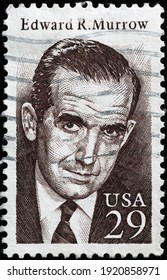 Milan, Italy  - February 05, 2021: Edward R. Murrow on american postage stamp