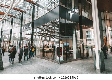 MILAN, ITALY - FEBRUARY 07, 2019: Tesla car store in Piazza Gae Aulenti square in Milan, Italy