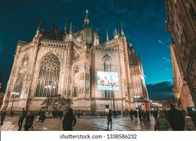 MILAN, ITALY - FEBRUARY 07, 2019: Closeup view of Milan Cathedral (Duomo di Milano) at night, Lombardy. It's famous tourist attraction.