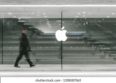 MILAN, ITALY - FEBRUARY 07, 2019: Apple logo on Apple Piazza Liberty retail store