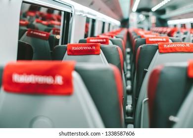 MILAN, ITALY - FEBRUARY 07, 2019: High-speed train Italo interior