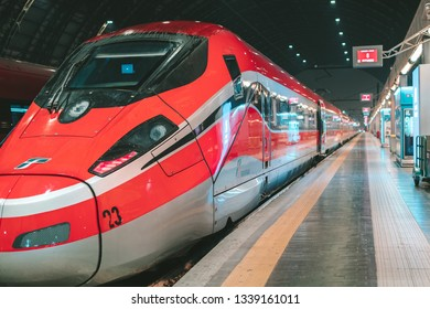 MILAN, ITALY - FEBRUARY 07, 2019: High-speed train Italo at the railway station in Milano Centrale Railway Station