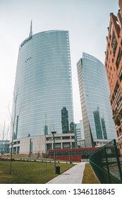 MILAN, ITALY - FEBRUARY 07, 2019: Modern buildings in the Gae Aulenti square
