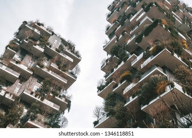 MILAN, ITALY - FEBRUARY 07, 2019: Bosco Verticale (Vertical Forest) skyscrapers, designed by Stefano Boeri, sustainable architecture in Porta Nuova district