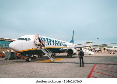 MILAN, ITALY - FEBRUARY 07, 2019: Ryanair EI-DLN (Boeing 737-8AS) parked in Milan Malpensa Airport. It is the largest international airport in the Milan metropolitan area in northern Italy