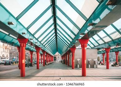 MILAN, ITALY - FEBRUARY 07, 2019: Milano Nord train station at the Piazza Cadorna square