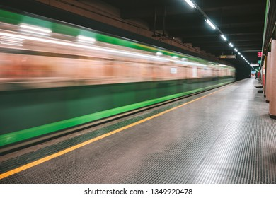 MILAN, ITALY - FEBRUARY 07, 2019: The Milan metro station