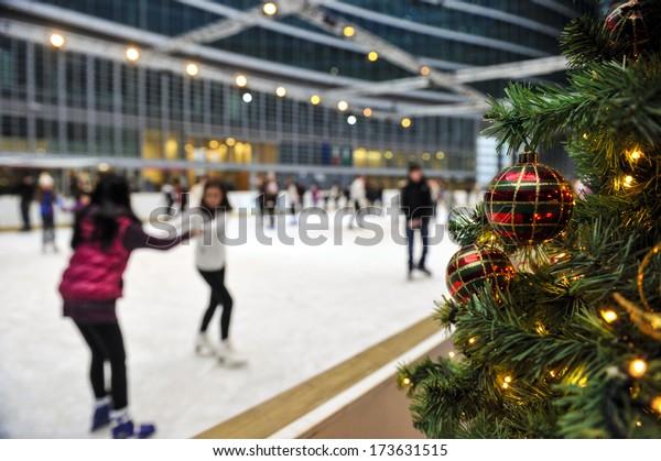 Christmas Ice Skating Rink Decoration.Milan Italy February 07 Christmas Tree Stock Photo Edit Now