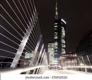 Milan, Italy - February 09, 2017: Night view of the UniCredit Tower and business center on Porta Nuova district in Milano, Italy. At 231 metres (758 ft), it is the tallest building in Italy.