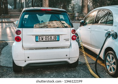 MILAN, ITALY - FEBRUARY 09, 2019: Smart electric car at a charging station