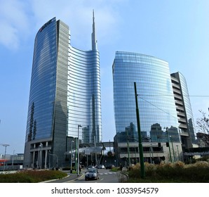 MILAN, ITALY - FEBRUARY 11, 2018: View of the Unicredit skyscapers in Milan financial district.