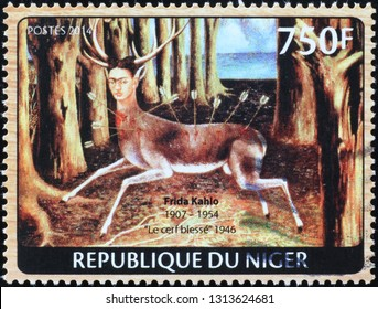 Milan, Italy – February 11, 2019: Painting the wounded deer by Frida Kahlo on stamp