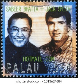Milan, Italy – February 11, 2019: Sabeer Batia and Jack Smith, co-founders of Hotmail on stamp