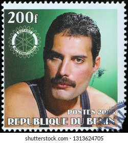 Milan, Italy – February 11, 2019: Portrait of Freddy Mercury on postage stamp