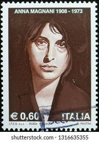 Milan, Italy – February 11, 2019: Italian actress Anna Magnani in postage stamp
