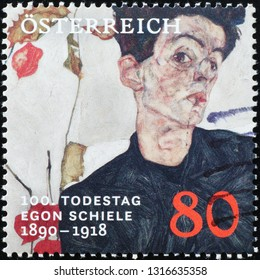 Milan, Italy – February 11, 2019: Egon Schiele self portrait on austrian postage stamp