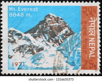 Milan, Italy – February 11, 2019: Image of Mount Everest on stamp of Nepal