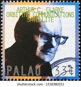 Milan, Italy – February 11, 2019: Arthur C. Clark on postage stamp