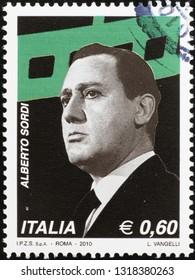 Milan, Italy – February 11, 2019: Italian actor Alberto Sordi on postage stamp