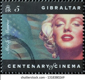 Milan, Italy – February 11, 2019: Portrait of Marylin Monron on stamp of Gibraltar