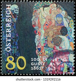 Milan, Italy – February 11, 2019: Painting by Klimt on austrian stamp