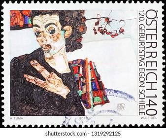 Milan, Italy – February 11, 2019: Egon Schiele self portrait on austrian stamp