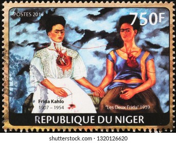 Milan, Italy – February 11, 2019: Self portraits by Frida Kahlo on postage stamp